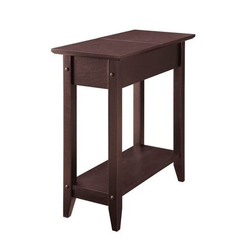 Espresso Accent Table Flip Top End Table Espresso 7105059es
