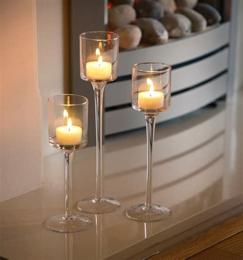 kerzenhalter taufkerze set of 3 tea light glass candle holders wedding