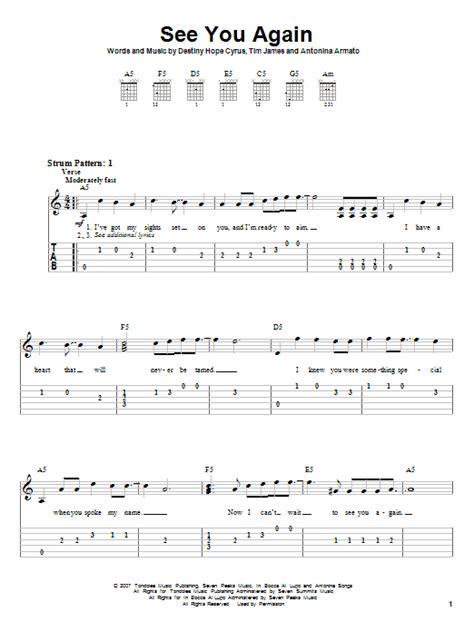 tutorial guitar see you again see you again by miley cyrus easy guitar tab guitar