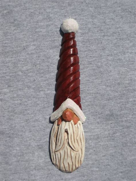 hand carved handmade santa tree ornament wood carving