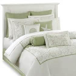 harbor house brisbane comforter set in white sage bed