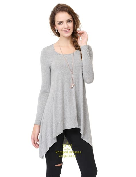 Asymmetrical Sleeve T Shirt womens grey sleeve asymmetrical draped crew neck t