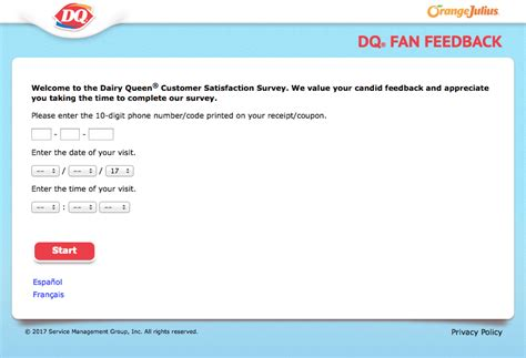 dq fan feedback survey dairy queen receipt survey for bogo smoothie or sandwich