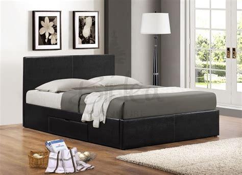 birlea berlin ft kingsize black faux leather bed frame  drawers  birlea