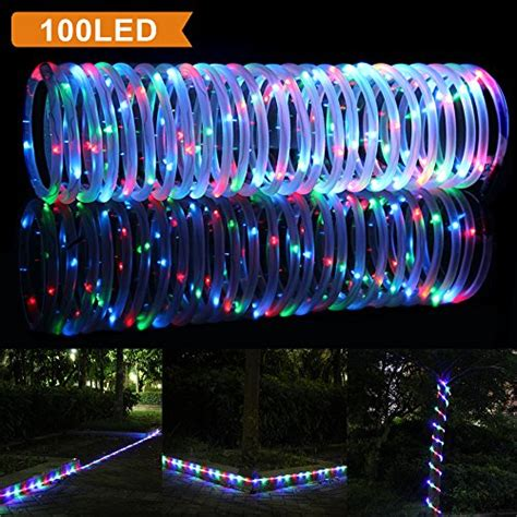 Solar Rope Lights Outdoor by Lte 33ft 100 Led Solar Rgb Rope Lights Outdoor Waterproof