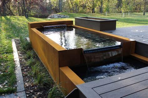 modern water feature corten water feature modern landscape other metro