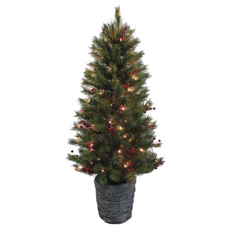 what artificial pre lit chridtmas are at home depot gorgeous 4ft pre lit potted tree warm white led lights berries ebay