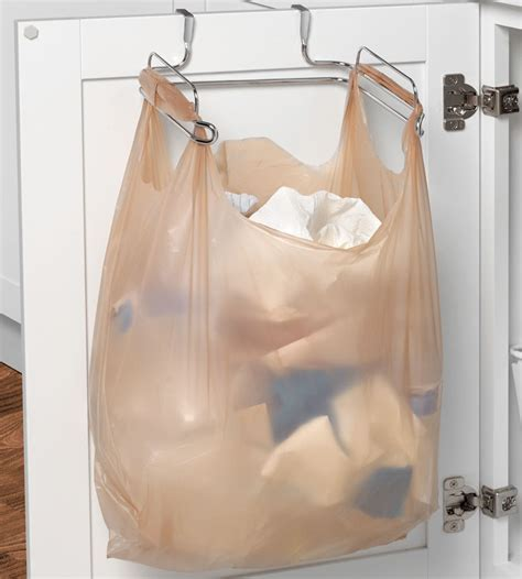 Cabinet Door Grocery Bag Holder with Towel Bar in Plastic