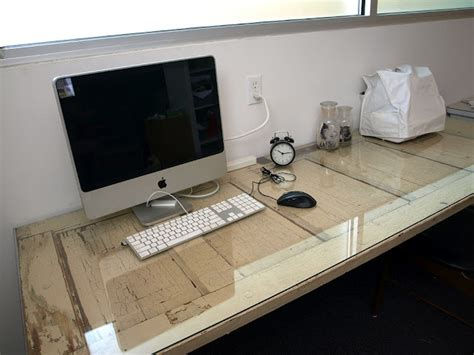 Floating Desk Old Door With A Piece Of Glass On Top And Door Desk Diy
