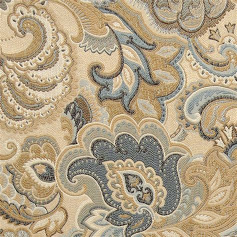 Fabric For Reupholstering Gold Blue And Green Abstract Paisley Upholstery Fabric
