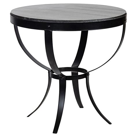 industrial metal side table logan industrial rustic metal stone top round side table
