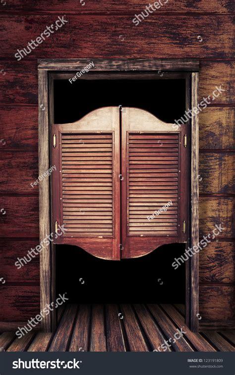western swing doors old western swinging saloon doors stock photo 123191809