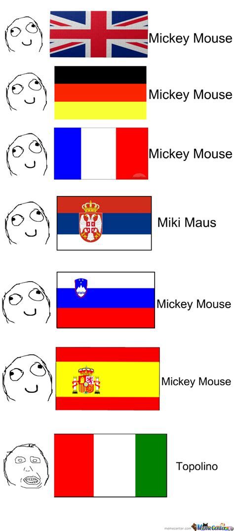 Different Languages Meme - mickey mouse in different languages by recyclebin meme