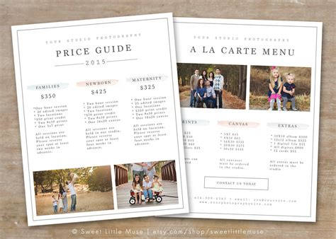 photography price list template photography pricing guide