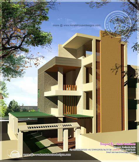 3 floor house luxury 3 floor house elevation with floor plan kerala