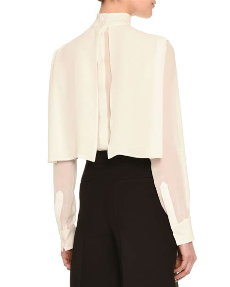 Cape Blouse Valentino High Collar Layered Cape Blouse In White Lyst
