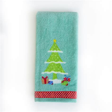 Trim A Home 174 Holiday Tree Fingertip Towel Home Bed Bathroom Rugs And Towels