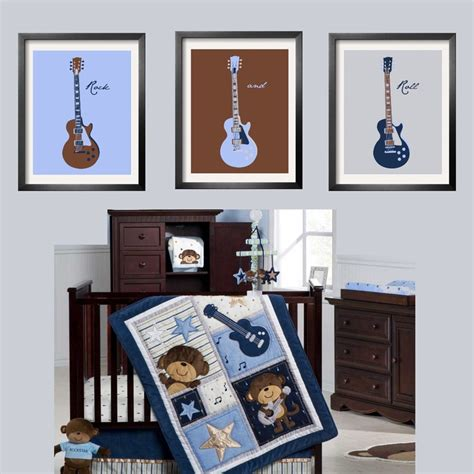 monkey room guitar prints in baby blue brown navy and silver 3 pc set 5x7 looks great with s monkey