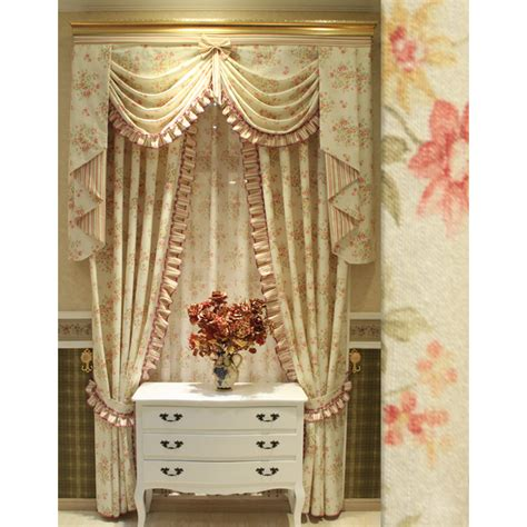 Thick floral light beige shabby chic curtains