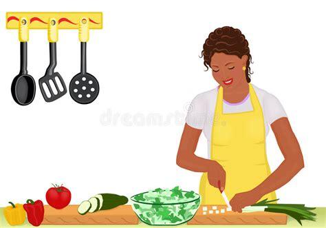 hello fait la cuisine mulher africana que cozinha a salada no branco ilustra 231 227 o