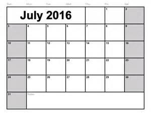 2015 Blank Calendar Templates by July 2016 Calendar Printable Template 8 Templates