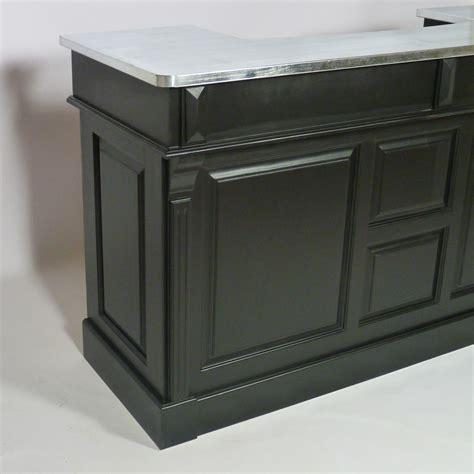 comptoir en bois massif bar bois massif noir et plateau zinc 180cm made in meubles