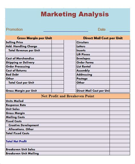 Analysis Template sle market analysis template 10 free documents in