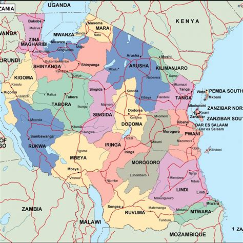 map of tanzania tanzania political map vector eps maps eps illustrator map our cartographers made