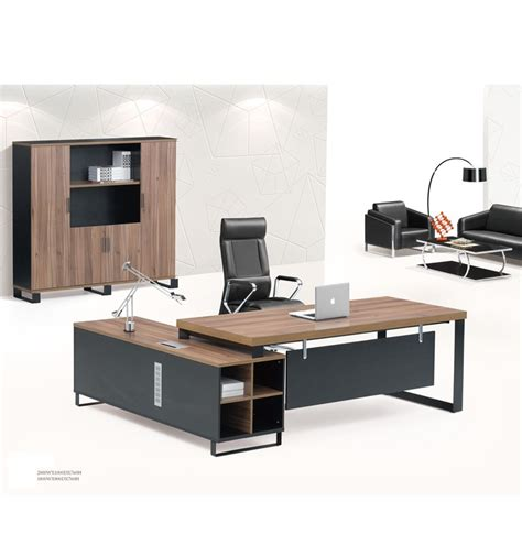 black executive office desk modern high end black oak chocolate malamine executive