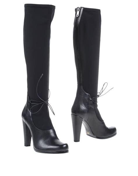 armani boots lyst emporio armani boots in black