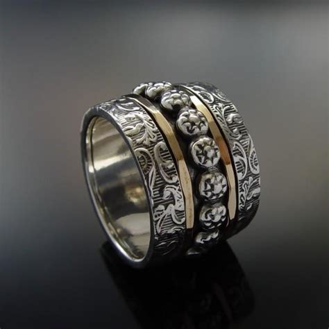 Handmade Silver And Gold Rings - floral wide silver gold band sterling silver and gold