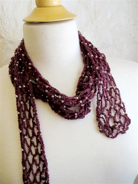 beaded crochet scarf pattern crocheted burgundy beaded scarf cotton necklace
