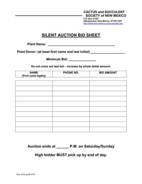 silent auction bid sheet template download free