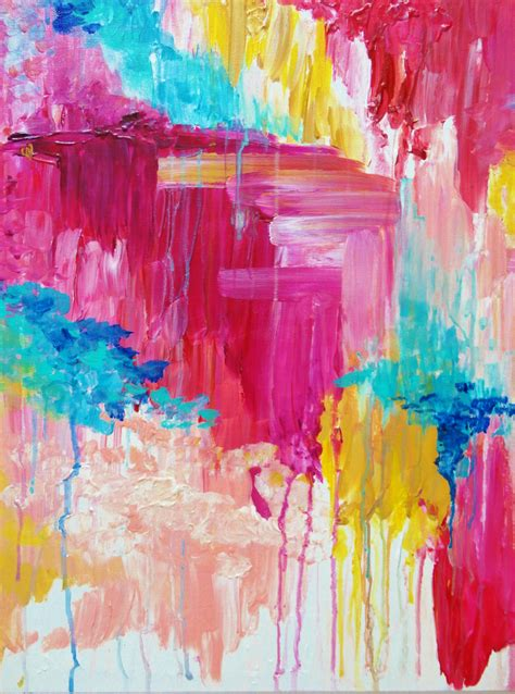 beautiful pastel pop of color painting free shipping elated happiness bright and bold original