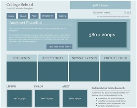 templates for college website free download college school free psd website template psd templates