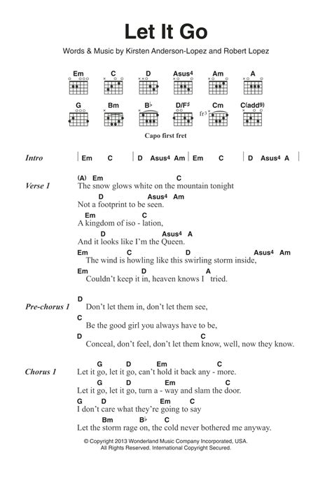 tutorial guitar let it go let it go from frozen by idina menzel guitar chords
