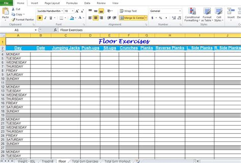 Furnish Your Home gym workout plan spreadsheet for excel excel tmp