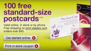 staples printable postcards staples coupon 100 free postcards southern savers