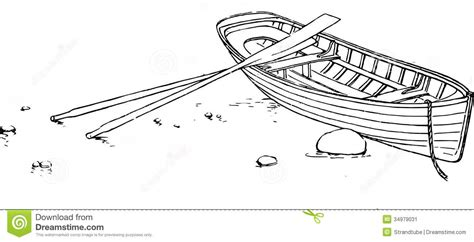 how to draw a boat on shore rowing boat with oars stock illustration image of