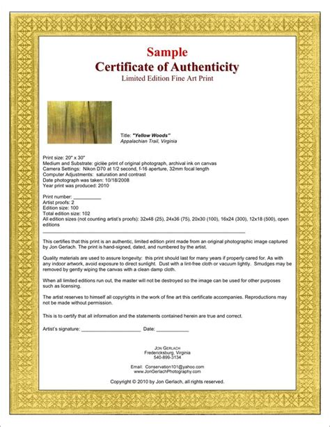 certificates of authenticity for artists artsy shark