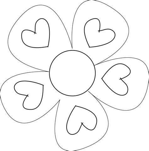 flower pattern outline free flower 6 large petals coloring pages