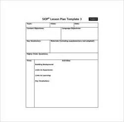 lesson plan observation template siop lesson plan template 9 free sle exle