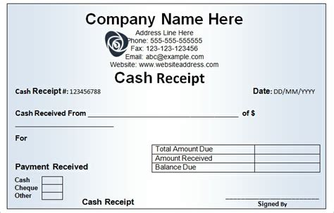 sle cash receipt template free download templatezet