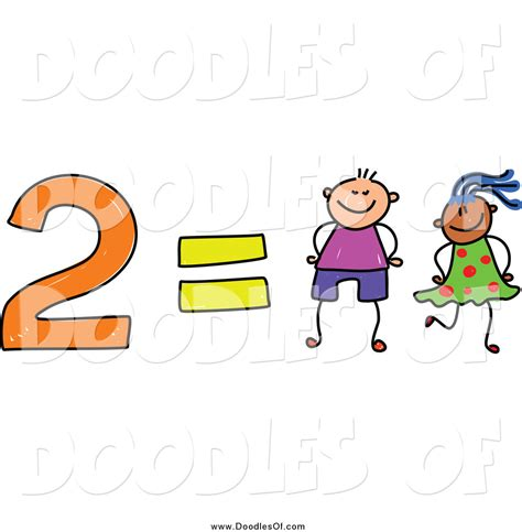 doodle clip vector clipart of a doodle of 2 equals two by prawny