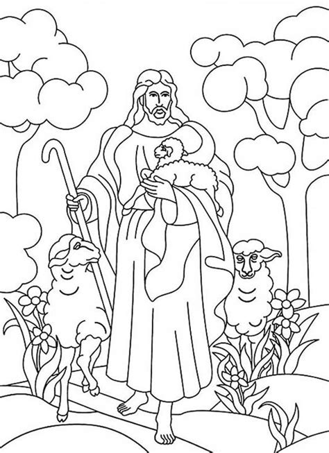 coloring page jesus with sheep jesus and sheep coloring page sketch coloring page