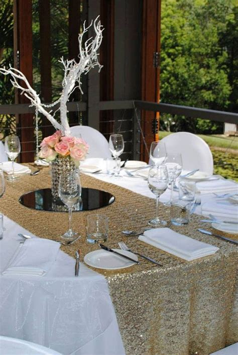 discontinued premium gold sequin table runner