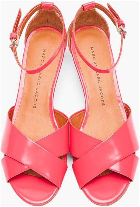 marc by marc low wedge sandals in pink coral lyst