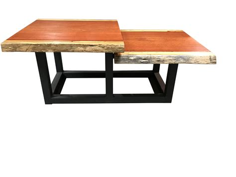 Handmade Tiered Live Edge Coffee Table Solid Blood Wood By Edge Coffee Table