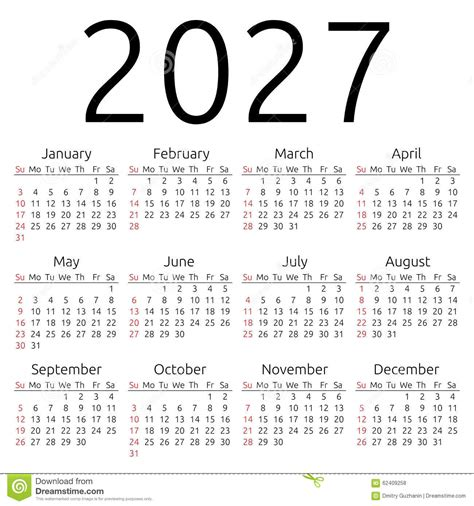 vector calendar 2027 sunday stock vector image 62409258