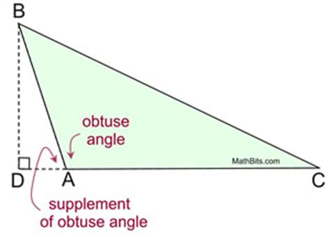supplement of an angle area of triangle using trigonometry mathbitsnotebook geo
